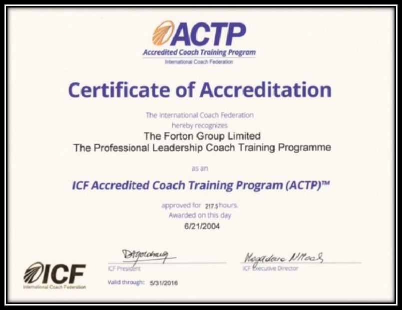 ICF ACTP Certificiate